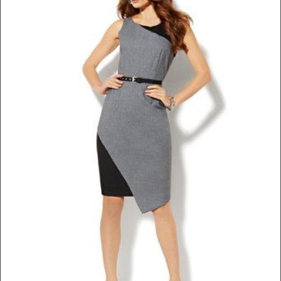 New York & Company Dresses | Grey Black Formal Dress From New York ...